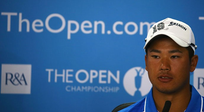 Hideki Matsuyama during a press conference Tuesday at the Open Championship.