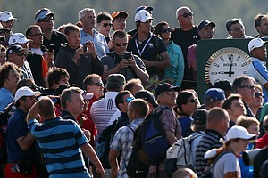 Tiger Woods watches his shot from the 17th tee during the last day of practice ahead of the Open Championship at Muirfield.