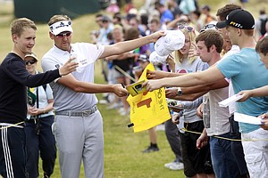 Ian Poulter during Wednesday practice for the 2013 British Open at Muirfield.