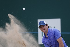Rory McIlroy during Wednesday practice for the 2013 British Open at Muirfield.