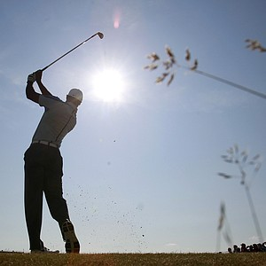 Tiger Woods during an unusually sunny Wednesday practice for the 2013 British Open at Muirfield.