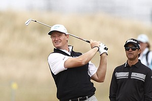 Ernie Els during Wednesday practice for the 2013 British Open at Muirfield.
