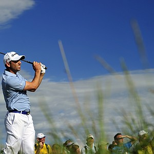 Sergio Garcia tees off on the 15th during the first round of the 2013 Open Championship at Muirfield.