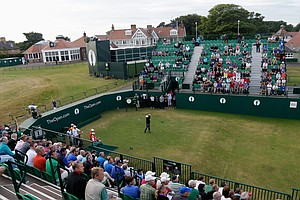 Peter Senior hits the opening tee shot on No. 1 during the first round of the 142nd Open Championship at Muirfield.