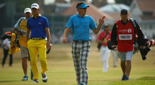 Billy Horschel (left) and Ian Poulter reacts on the 1st hole during the first round of the Open Championship at Muirfield.