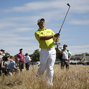 Lee Westwood during the first round of the 2013 Open Championship at Muirfield.