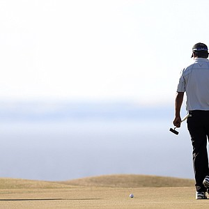 Shiv Kapur during the first round of the 2013 Open Championship at Muirfield.
