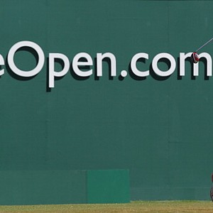 Rickie Fowler tees off on the first during the opening round of the 2013 Open Championship in Gullane, Scotland.