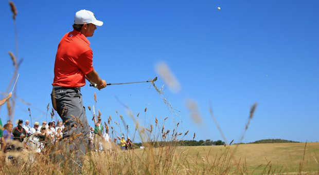 Jordan Spieth hits out of the rough on the 15th during the second round of the 142nd Open Championship at Muirfield.