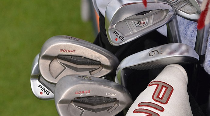 Miguel Angel Jimenez' bag featuring Ping golf equipment during the 2013 British Open at Muirfield.