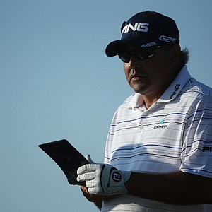 Angel Cabrera looks on during the second round of the Open Championship at Muirfield.