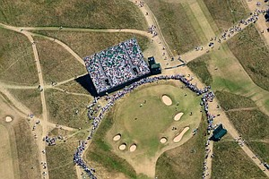 Aerial view of the 16th hole during the second round of the 142nd Open Championship at Muirfield.