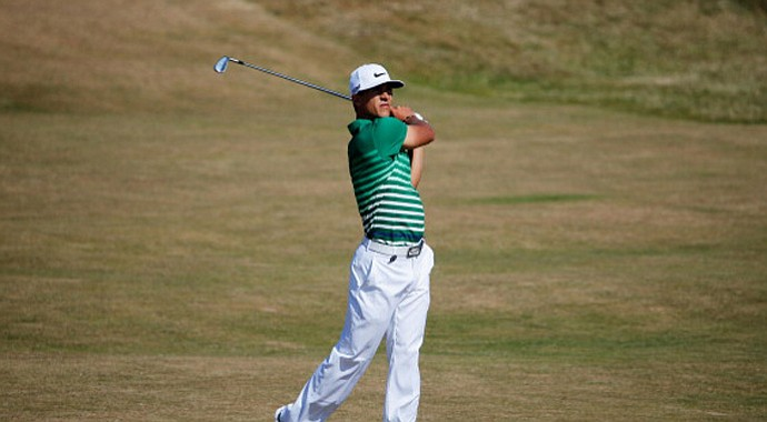 Thorbjorn Olesen hits his second shot on the sixth hole during the second round of the Open Championship at Muirfield.