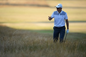 Justin Rose reacts during the second round of the 142nd Open Championship at Muirfield in Scotland.