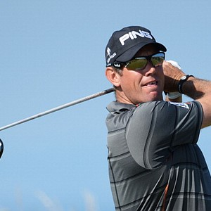 Lee Westwood tees off on the fifth hole during the second round of the Open.