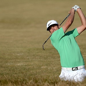 Nick Watney hits his third shot on the 15th hole during the second round of the 142nd Open Championship.
