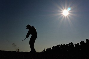 Phil Mickelson tees off on the 15th hole during the second round of the 142nd Open Championship.