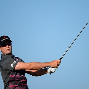 Zach Johnson tees off on the 15th hole during the second round of the 142nd Open Championship at Muirfield.