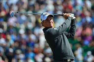 Bud Cauley tees off on the 12th hole during the third round of the Open Championship at Muirfield.
