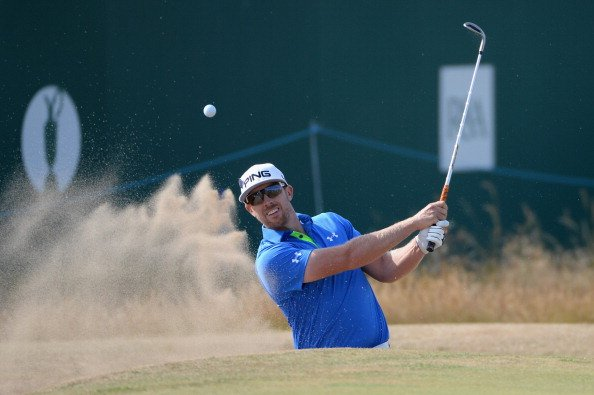 Hunter Mahan hits his third shot on the 18th hole during the third round of the 142nd Open Championship.