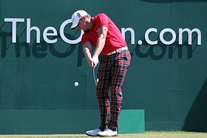 Jamie Donaldson plays the first tee during the third round of the 2013 Open Championship.