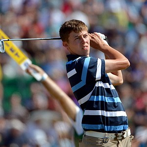 Amateur Matthew Fitzpatrick tees off on the 12th hole during the third round of the 142nd Open Championship at Muirfield.