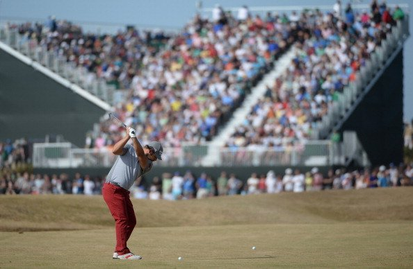 Ryan Moore plays his second shot on the 10th hole during the third round of the Open Championship Gullane, Scotland.
