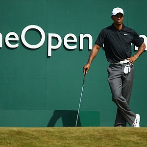 Tiger Woods on the first tee during the third round of the Open Championship at Muirfield.