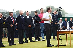 Phil Mickelson addresses the crowd after receiving the Claret Jug at Muirfield on Sunday at the Open Championship.