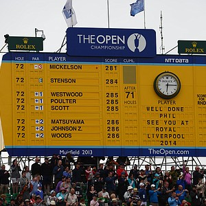 The final scoreboard at Muirfield after the completion of play in the Open Championship on Sunday.