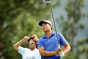 Andy Zhang with his caddie, Chris Gold, during the 66th U.S. Junior Amateur Championship at Martis Camp Club.