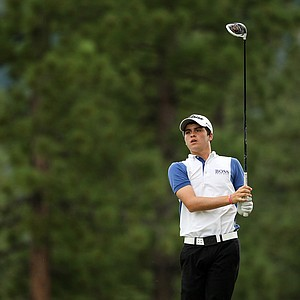 Jorge Antonio Garcia hits his tee shot at No. 18 during the final day of stroke play at the 66th U. S. Junior Amateur Championship at Martis Camp Club.