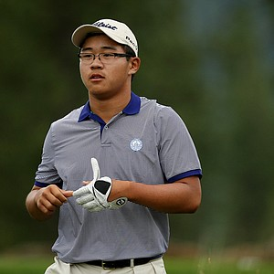 Jim Liu walks down No. 18 during the final day of stroke play at the 66th U. S. Junior Amateur Championship at Martis Camp Club.