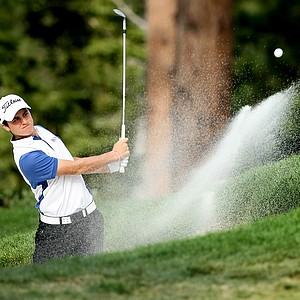 Jorge Antonio Garcia blasts out of the bunker at No. 9 during the final day of stroke play at the 66th U. S. Junior Amateur Championship at Martis Camp Club.