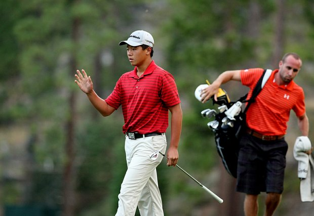 Andy Zhang makes birdie at the first playoff hole to advance to match play during the final day of stroke play at the 66th U. S. Junior Amateur Championship at Martis Camp Club.