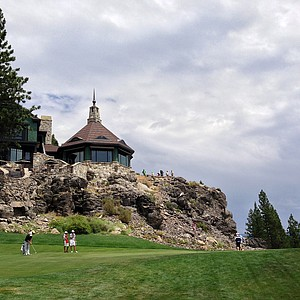 A view of hole No. 18 and the clubhouse during the final day of stroke play at the 66th U. S. Junior Amateur Championship at Martis Camp Club.