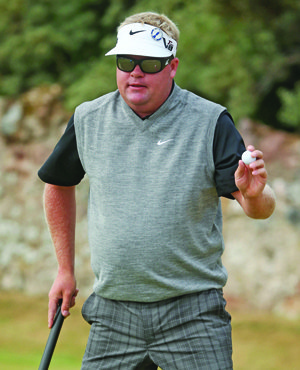 Carl Petterson with his 38-inch Rife putter during the 2013 British Open.
