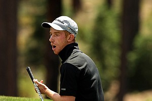 Matthew Lowe reacts to missing his putt at No. 18 during the Round of 64 at the 66th U. S. Junior Amateur Championship. Lowe, won a morning playoff to get into match play and then lost to Jim Liu in 19-holes.