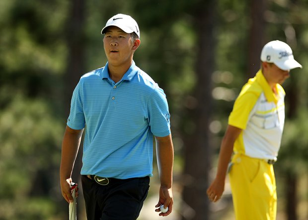Jooho Lee defeated Thaddeus Obecny II after 20 holes during the Round of 64 at the 66th U. S. Junior Amateur.