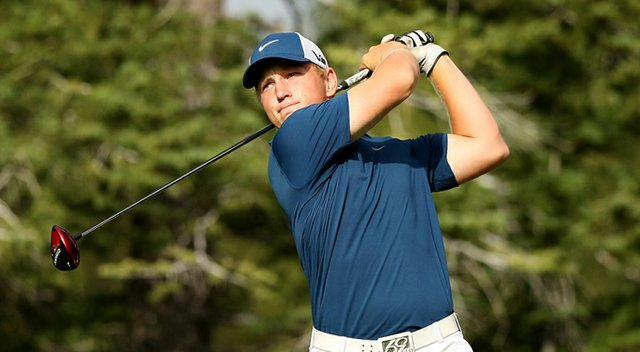 Brad Dalke hits his tee shot at No. 15 during the 66th U. S. Junior Amateur Championship at Martis Camp Club.