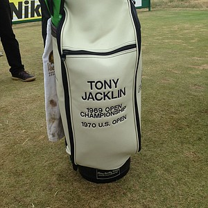 Tony Jacklin's bag during a round at Muirfield after the 2013 Open Championship.