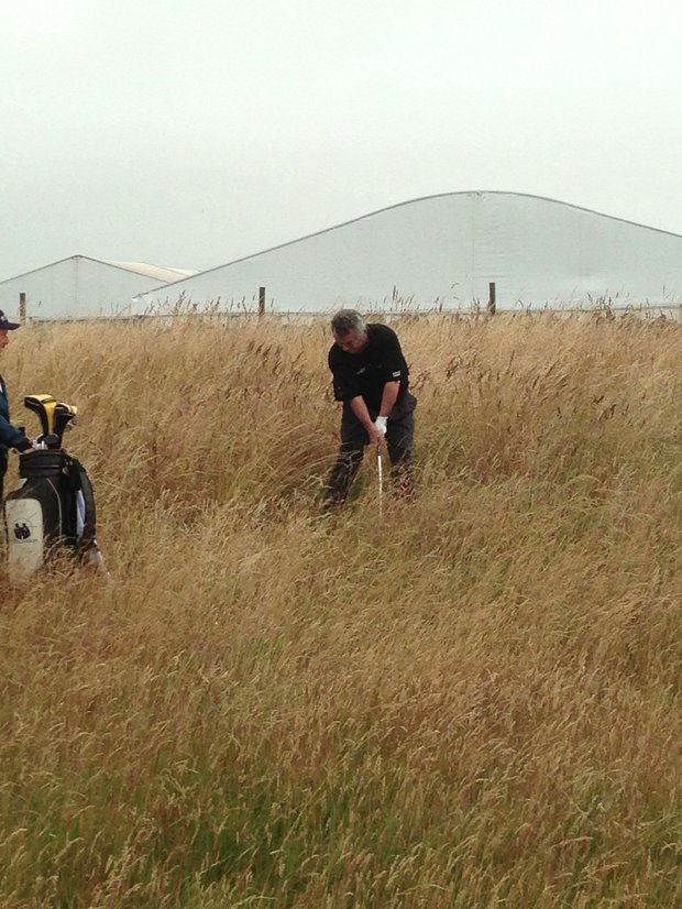 Tony Jacklin hits from the rough during a round at Muirfield the day after the 2013 Open Championship.