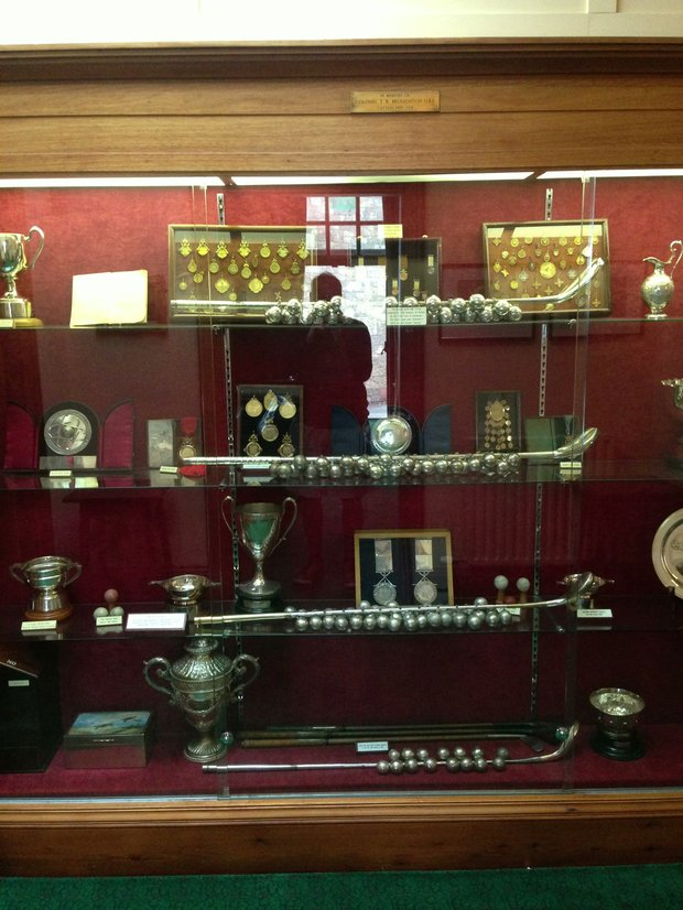 The trophy case at Muirfield after the 2013 Open Championship.