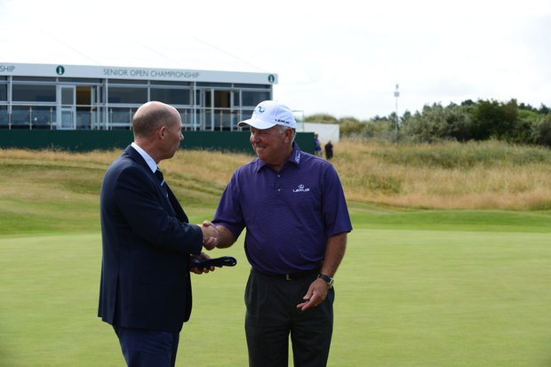 Mark O'Meara is presented with the club tie at Royal Birkdale in July 2013.
