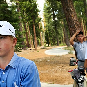 John Augenstein, foreground, defeated Jim Liu, background, in 20 holes during the Round of 32 at the 66th U. S. Junior Amateur.