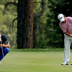 Sean Crocker, left, lost in 22 holes to Aaron Terrazas during the Round of 32 at the 66th U. S. Junior Amateur.