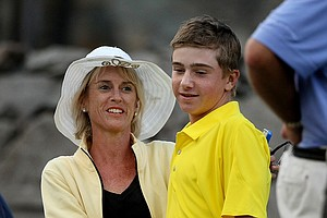 Susan Augenstein congratulates her son, John, after he defeated Brian Carlson 1 up during the Round of 16 at the 66th U. S. Junior Amateur.