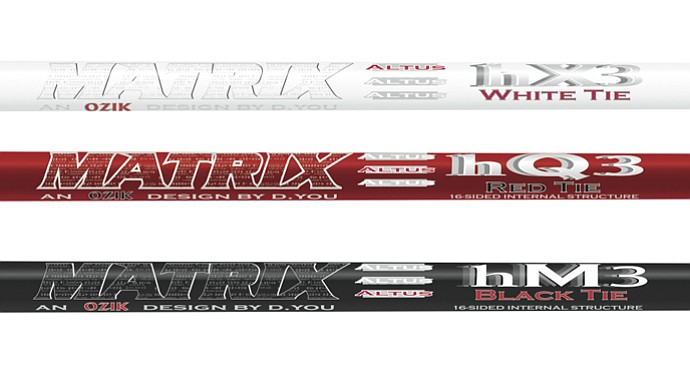 Matrix offers three new shafts for hybrids (from top): the HQ3 Red Tie, with mid launch and mid spin; the HX3 White Tie, with high launch and low spin; and the HM3 Black Tie, with low launch and lower spin.