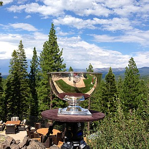 The U. S. Junior Amateur trophy sits high above the course during the Round of 16 at the 66th U. S. Junior Amateur Championship.