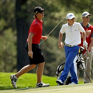 Sam Horsfield and John Augenstein during their quarterfinal match at the 66th U. S. Junior Amateur Championship.